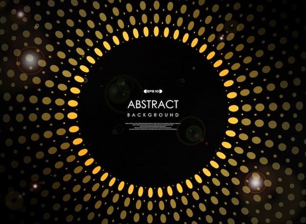 Futuristische geometrische gelbe sonne brach auf schwarzem hintergrund