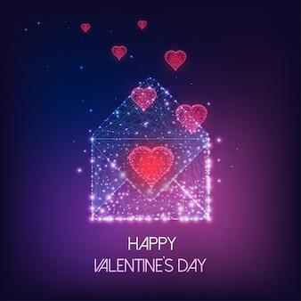 Futuristische glückliche valentinstaggrußkarte mit glühendem niedrigem polygonalem umschlag und roten herzen