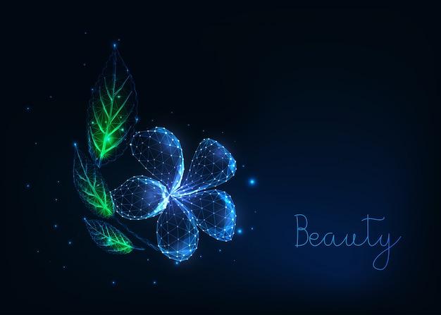 Futuristische glühende niedrige polygonale schöne plumeriablume mit grün verlässt auf dunkelblauem.