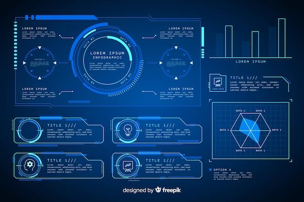 Futuristische holographische infographik elementsammlung