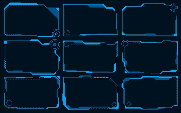 Futuristische hud abstracts. zukünftiger blauer monochromer themenkonzepthintergrund.