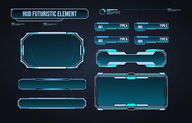 Futuristische hud-elementschnittstelle. virtuelle grafische touch-benutzeroberfläche