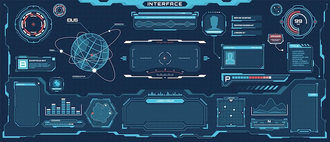 Futuristische hud-schnittstelle scifi virtuelles kommunikationsdisplay-layout-hologramm-bildschirmset