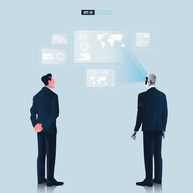 Futuristische humanoide geschäftsleute mit technologiekonzept der künstlichen intelligenz. geschäftsmann und roboter beobachten hologramm grafische benutzeroberfläche