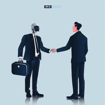 Futuristische humanoide geschäftsleute mit technologiekonzept der künstlichen intelligenz. geschäftsmann und roboterhand schütteln verhandlungsillustration