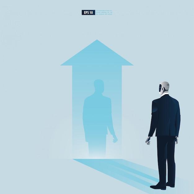 Futuristische humanoide geschäftsleute mit technologiekonzept der künstlichen intelligenz. robot beobachtet seinen schatten und denkt darüber nach, erfolg zu haben