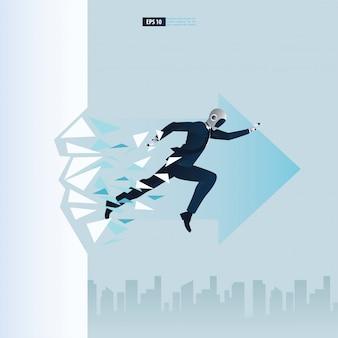 Futuristische humanoide geschäftsleute mit technologiekonzept der künstlichen intelligenz. roboter bricht das wandglas. durchbruch illustration
