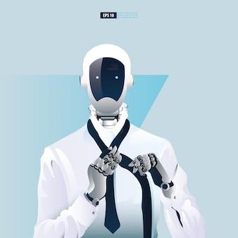 Futuristische humanoide geschäftsleute mit technologiekonzept der künstlichen intelligenz. roboter-büroangestellte, die eine krawattenillustration aufsetzen