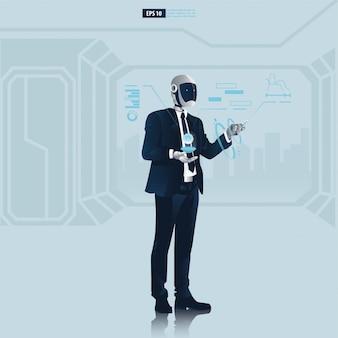 Futuristische humanoide geschäftsleute mit technologiekonzept der künstlichen intelligenz. roboter-büroangestellte lesen die datenillustration