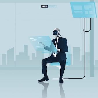 Futuristische humanoide geschäftsleute mit technologiekonzept der künstlichen intelligenz. roboter-büroangestellte verwenden eine computerillustration