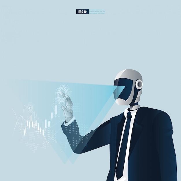Futuristische humanoide geschäftsleute mit technologiekonzept der künstlichen intelligenz. roboter, der aktienhandelsmonitorillustration berührt