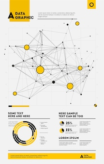 Futuristische infografik. informationsästhetik. grafische visualisierung komplexer datenthreads. abstrakter datengraph.