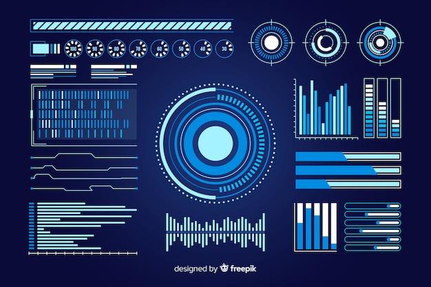 Futuristische infographik elementsammlung