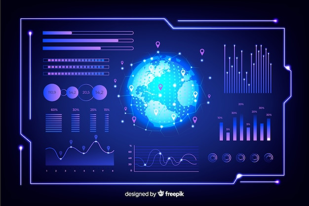 Futuristische infographik elementsatz