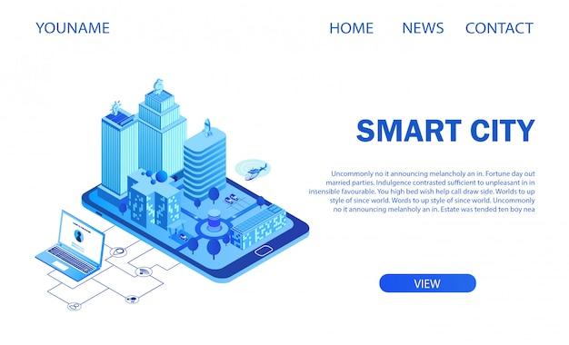 Futuristische intelligente großstadt auf smartphone-bildschirm