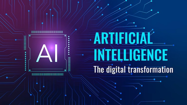 Futuristische ki-technologie-vorlage vektor-blog-banner für disruptive technologie