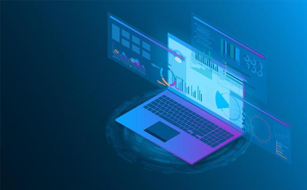 Futuristische konzeptillustration der isometrischen laptop-analyseinformation