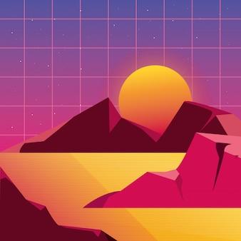 Futuristische landschaft des retro- hintergrundes