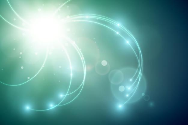 Futuristische lichtschablone mit hellem blitz und welligen leuchtenden linien auf unscharfem hintergrund