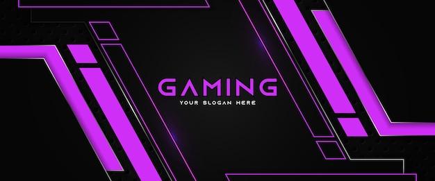 Futuristische lila und schwarze gaming-header-social-media-banner-vorlage