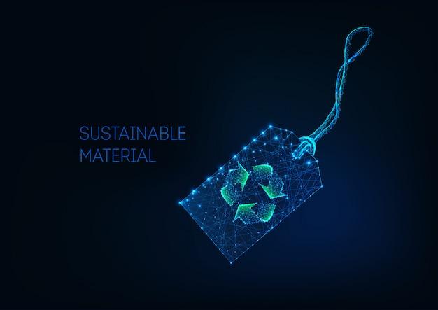 Futuristische low-poly-verkaufspreisschild mit grünem recycling-zeichen nachhaltiges material, recycling-stoff.