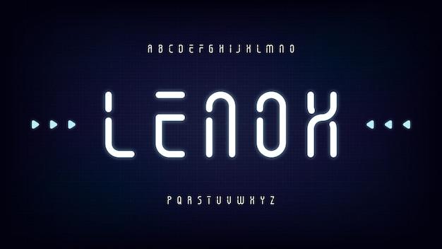 Futuristische moderne abgerundete kondensierte lichtanzeige-schablonenschrift, abstrakter sci-fi-sauberer buchstabensatz, lenox-schrift