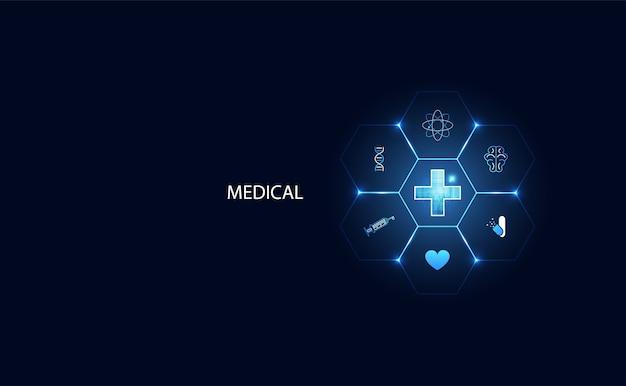 Futuristische moderne wissenschaft positive gesundheit für medizinische
