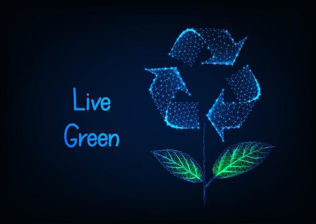 Futuristische ökologische fahne mit blume