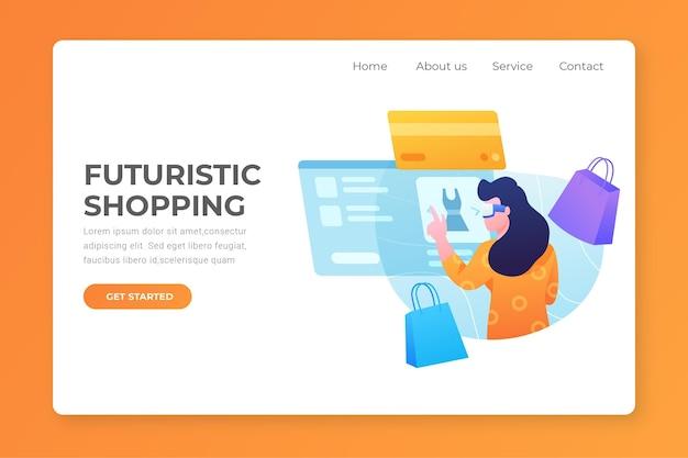 Futuristische online-landingpage einkaufen