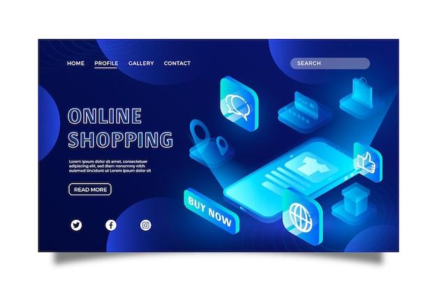 Futuristische online-landingpage-vorlage für einkäufe
