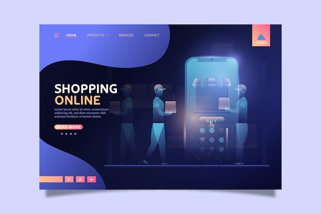Futuristische online-shopping-landingpage