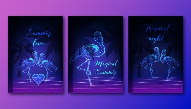 Futuristische plakate mit paar tanzenden flamingos gesetzt