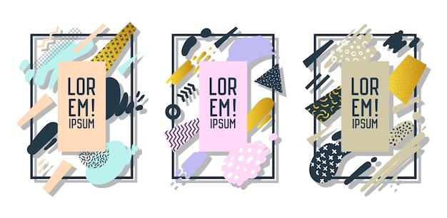 Futuristische rahmen mit abstrakten geometrischen elementen. moderne kunstgrafiken für flyer, poster, banner, plakate, broschüren mit platz für text. vektor-illustration