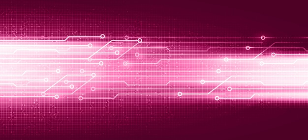 Futuristische rosa digitale schaltung mit netzwerktechnologie auf zukünftigem hintergrund, geschwindigkeits- und verbindungskonzeptentwurf, vektorillustration.