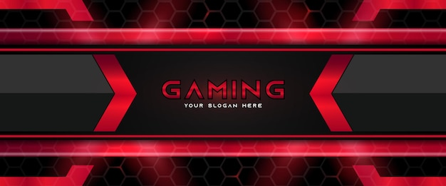 Futuristische rote und schwarze gaming-header-social-media-banner-vorlage