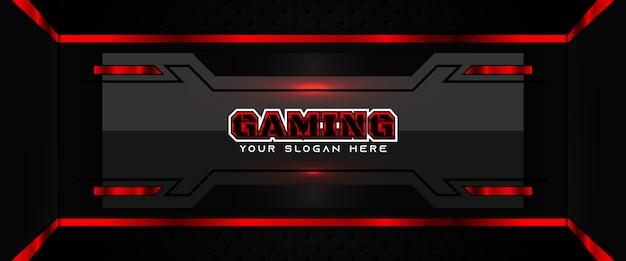 Futuristische rote und schwarze spieleheader-social-media-banner-vorlage