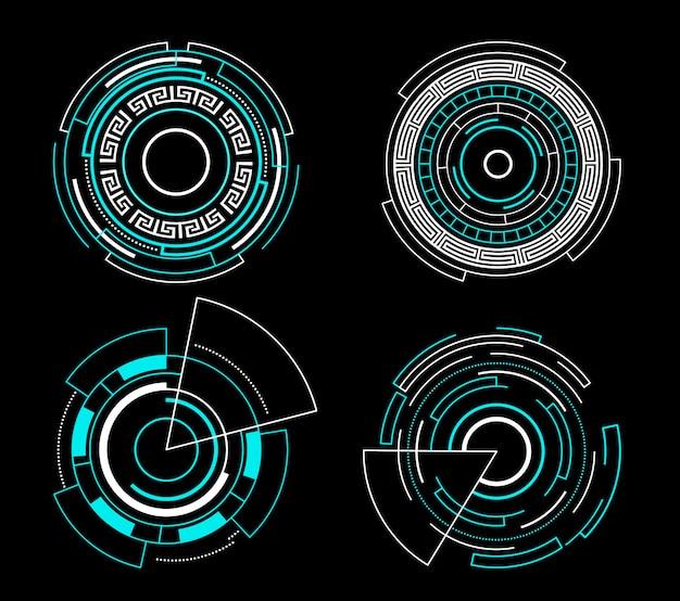 Futuristische schnittstelle des blauen kreises hud stellte vektortechnologieentwurf ein.
