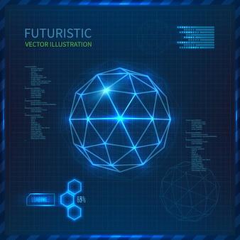 Futuristische schnittstelle mit vektorkugel mit dreiecken