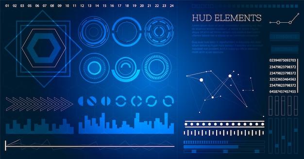 Futuristische sci-fi-benutzeroberfläche hud-elemente.