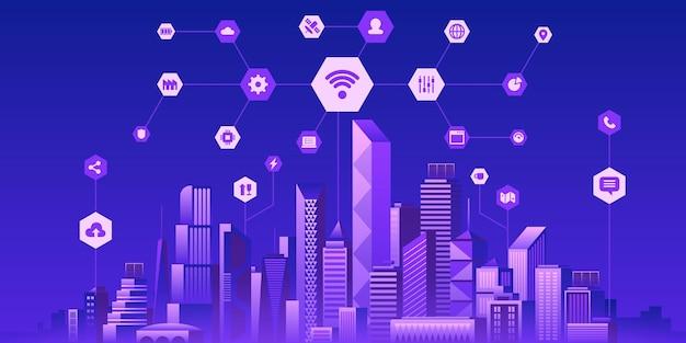 Futuristische smart city-flache vektor-illustration. moderne online-technologie, drahtloses informationsnetzwerk, digitales netz, iot-konzept. städtisches stadtbild und internetsymbole. intelligente infrastruktur