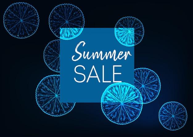 Futuristische sommerschlussverkauffahne mit zitrone, quadratischem rahmen und text auf dunkelblauem.