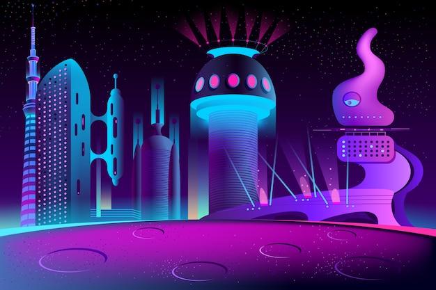 Futuristische stadt auf einem anderen planeten, megapolis