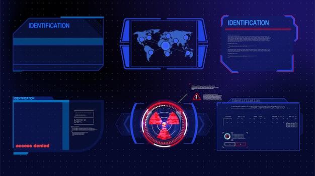 Futuristische technologie hud-bildschirm. taktische ansicht sci-fi vr dislpay. hud-benutzeroberfläche. futuristisches vr-head-up-display. vitrual reality technology screen.