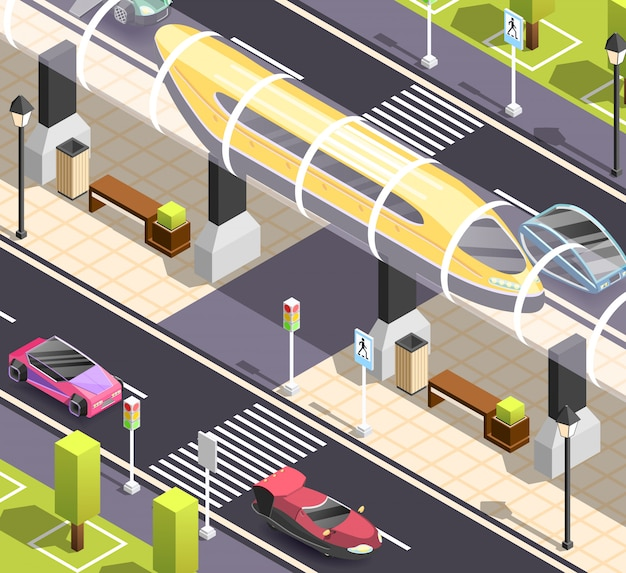 Futuristische transport isometrische szene