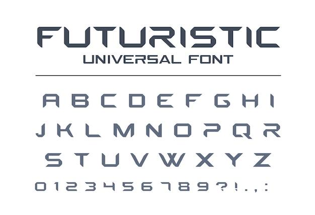 Futuristische universalschrift. geometrisches, zukünftiges techno-alphabet. buchstaben und zahlen für militär, industrie, technologie, rennsport, elektroauto-logo. moderne minimalistische schrift