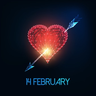Futuristische valentinstaggrußkarte mit glühendem niedrigem polyred herzen, pfeil und text am 14. februar