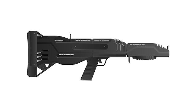 Futuristische waffen. fantastische sturmgewehrillustration. schweres sturmgewehr.