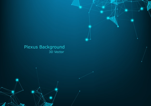Futuristische wireframe daten des abstrakten drahtnetzes der technologie blauen mit lichteffekt. big data connection hintergrund