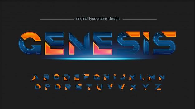 Futuristischer blau-orange abstrakter typografieeffekt