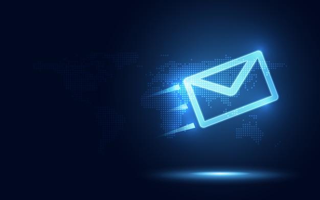 Futuristischer blauer eilumschlag und abstrakter technologiehintergrund des pakets